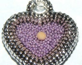 Purple Mustard Seed Heart Necklace