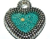 Blue Green Mustard Seed Heart Necklace
