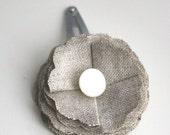 fabric flower hair clip linen