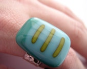 SALE-(WAS 24) Ring, LIME DIVINE, turquoise, lime art glass ring