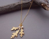 Oak Leaf - 19 Inch 24K Gold Plated Necklace and  Pendant
