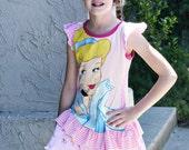 CINDERELLA Upcycled T-Shirt Ruffle Sleeve Dress Girls Size 6/6x