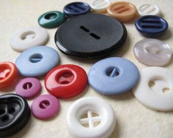 Vintage Plastic Buttons - Odd Orphans