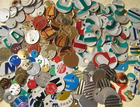 Metal Discs from MODERN Salvaged Scrap Materials - Outsider Art Tokens for Jewelry or Scrapbooking