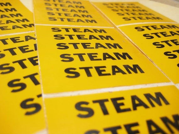 Steam Pipe Label Stickers - Yellow Warning Tape