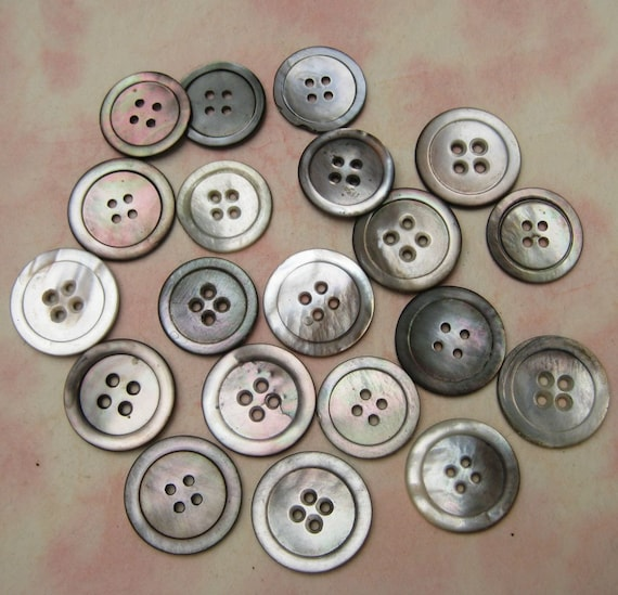 Vintage Smoky Pearl Shell Buttons