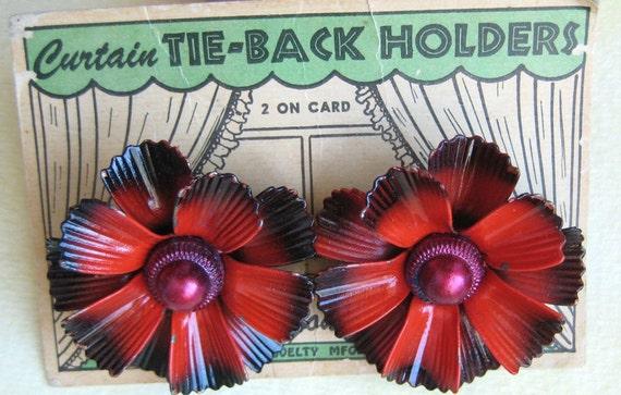 Vintage Curtain Tie Tack Pins - Red Painted Metal Flower Pair