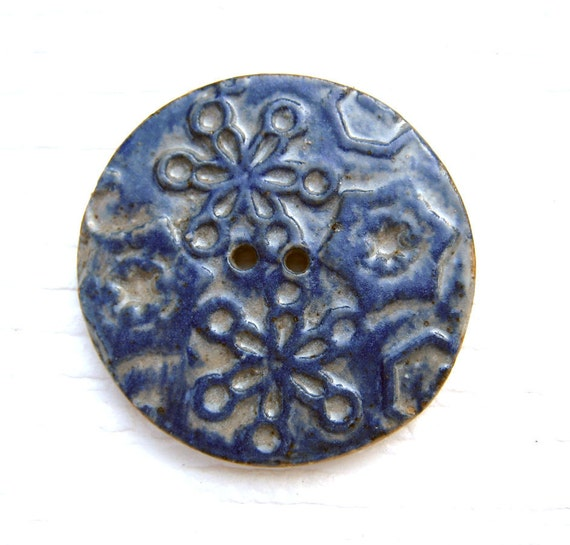 RESERVED for Christina - Ceramic Button - Cobalt Snowflake - Large Focal Stoneware