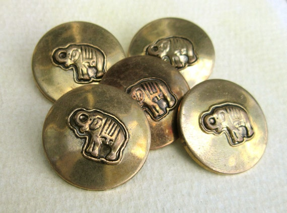 Vintage Gold Buttons - Elephants