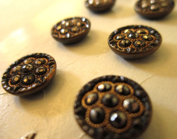 9 Victorian Metal Buttons - Faux Cut Steels