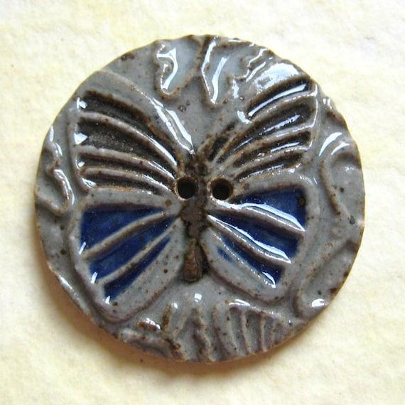 Stoneware Ceramic Butterfly Button - Cobalt