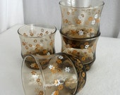 Libby Tumblers Daisy Flower Smoke Brown Glass