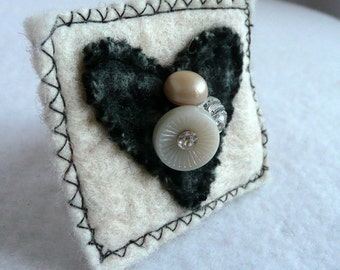 Felt Heart Brooch Dark Gray White Recycled Felted Wool Sweaters Handcrafted