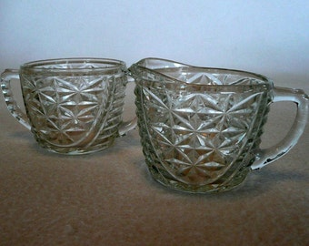 Anchor Hocking Thousand Lines Creamer and Sugar