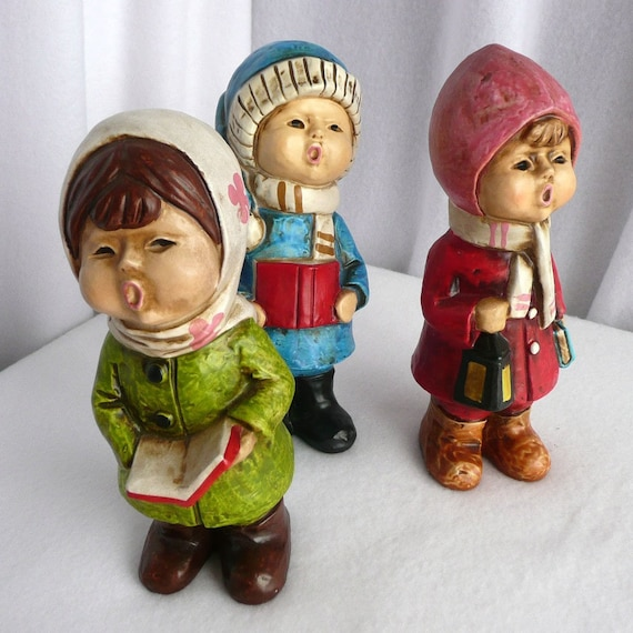 Singing Carolers Candleholders Figurines Vintage By: Three Carolers Children Singing Decorative By SweetRiceVintage