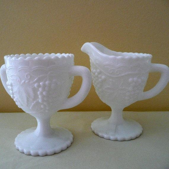 Imperial Glass Cream and Sugar Milk Glass Wedding White Vintage