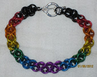 Rainbow with black Inverted Round Chainmaille Bracelet