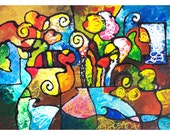 Signed Art Print from my abstract painting Two Bouquets