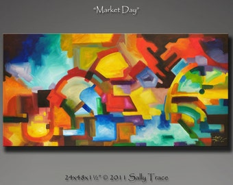 """Fine art giclee print on stretched canvas from my original abstract modern acrylic painting, Market Day, 24x48"""""""
