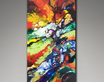 Giclee Print on Canvas from my Original Abstract Fluid Painting, Geological Time, 18x36 inches, expressionism, geology art