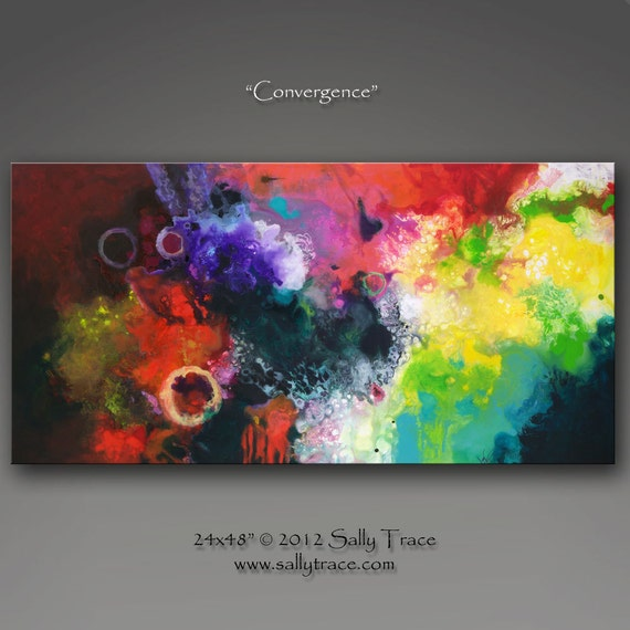 Original abstract painting, large colorful expressionist painting CONVERGENCE by Sally Trace