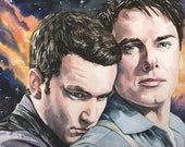 Ianto and Jack Torchwood Portrait Art 10 x 7.5 Reproduction Print