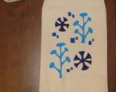 Winter Trees with Purple Star Wheels Canvas Lunch Sack