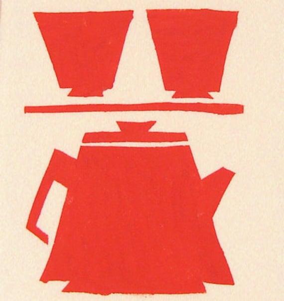 Red Tea Set Flour Sack Tea Towel