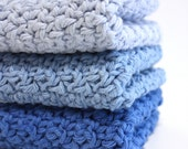 Crochet Cotton Dishcloths Blues
