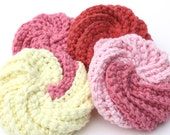 4 Spiral Crochet Cotton Scrappy Scrubbies Shabby Chic Colors SALE