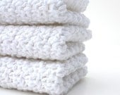 Crochet Cotton Dishcloths  White
