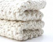 Crochet Cotton Washcloths Baby Shower Gift Natural Organic Cotton 7 x 7 Almond White