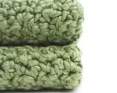 Cotton Washcloths Natural Organic Crochet Dishcloths Bath or Kitchen Cloths Green  you pick the size