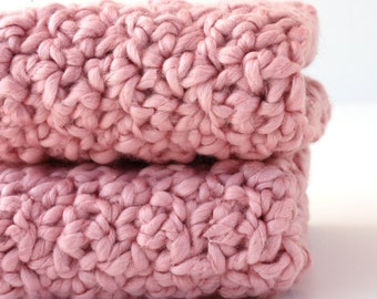 Organic Cotton Crochet Washcloths Girl Baby Shower Gift Nursery Strawberry Pink