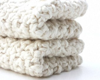 Crochet Cotton Washcloths Baby Shower Gift Natural Organic Cotton 7 x 7 Almond White