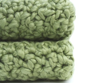 Cotton Washcloths Natural Organic Crochet Dishcloths Bath or Kitchen Cloths Green  you pick the size