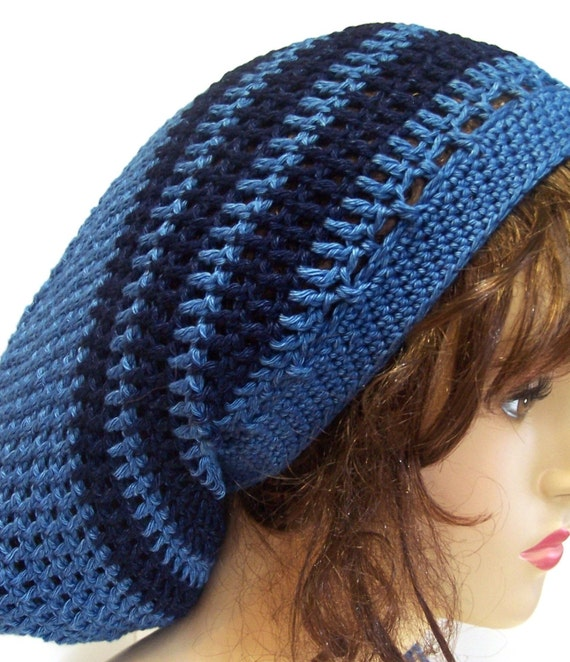 Crochet Slouchy Beanie Dread Tam Hippie Hat - Blue