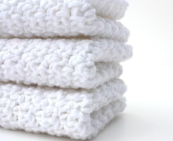 White cotton Dishcloths Crochet Dishcloths Kitchen Dishcloths handmade kitchen scrubbies