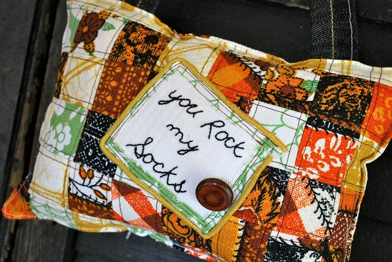 """SALE// Vintage Embroidered Pillow """"You Rock My Socks"""" Reclaimed Vintage by Whoopsie Daisies on Etsy"""