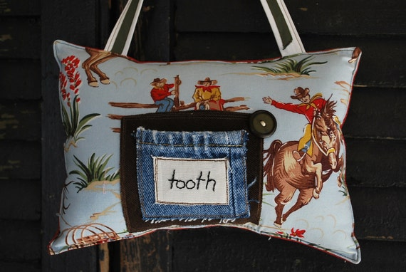 SALE/// Vintage Cowboy Tooth Fairy Pillow by Whoopsie Daisies on Etsy