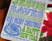 SALE 50% OFF letterpress Jesus & i save postcard Jesus saves and i did too, on postage postcard pack of 6 with message and mailing panel