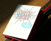 letterpress comic book style wowie zowie! you're the best, thanks! greeting card red & blue thank you