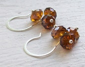 Chocolate Brown Crystal Silver Earrings