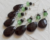 SALE - Black and Green Silver Bib Necklace