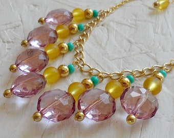 SALE - Pink Yellow and Turquoise Bib Necklace