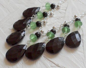 Black and Green Silver Bib Necklace