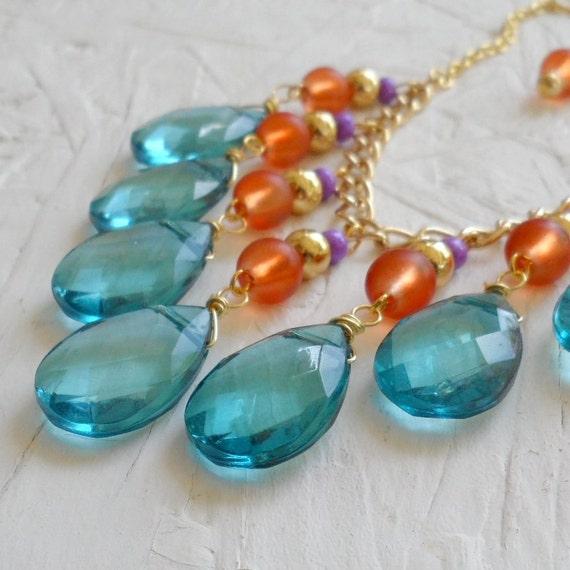 Aqua Orange and Purple Gold Bib Necklace