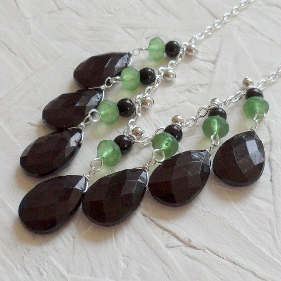 SAMPLE SALE 50% OFF - Black and Green Silver Bib Necklace