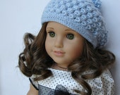 "Rosamund Beret - PDF Knitting Pattern For 18"" American Girl Dolls - Doll Clothes Pattern - Instant Download"