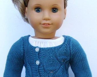 "Eva Cardigan Sweater - PDF Knitting Pattern For 18"" American Girl Dolls - Instant Download"